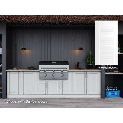 Tampa Shell White 17-Piece 121.25 in. x 34.5 in. x 28 in. Outdoor Kitchen Cabinet Set