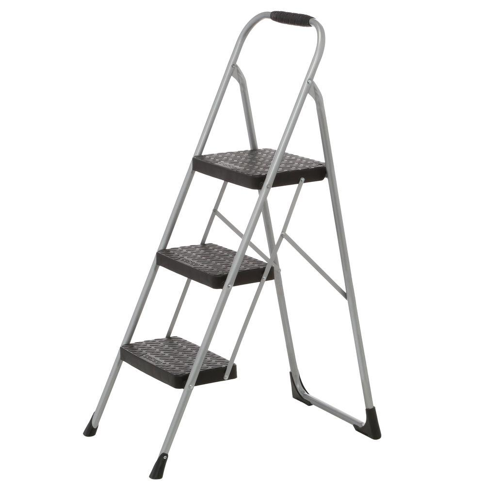 Cosco 3 Step Steel Big Step Stool Ladder With Large Front