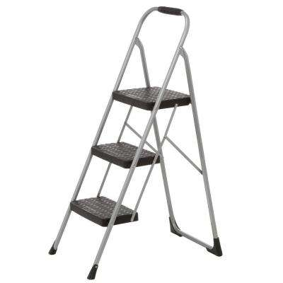 3-Step Steel Big Step Stool Ladder with Large Front Feet and Grip with 200 lbs. Load Capacity