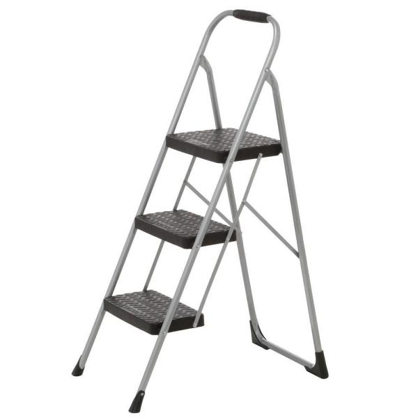 Cosco 3 Step Steel Big Step Stool Ladder With Large Front Feet And Grip With 200 Lbs Load Capacity 11408pbl1e The Home Depot