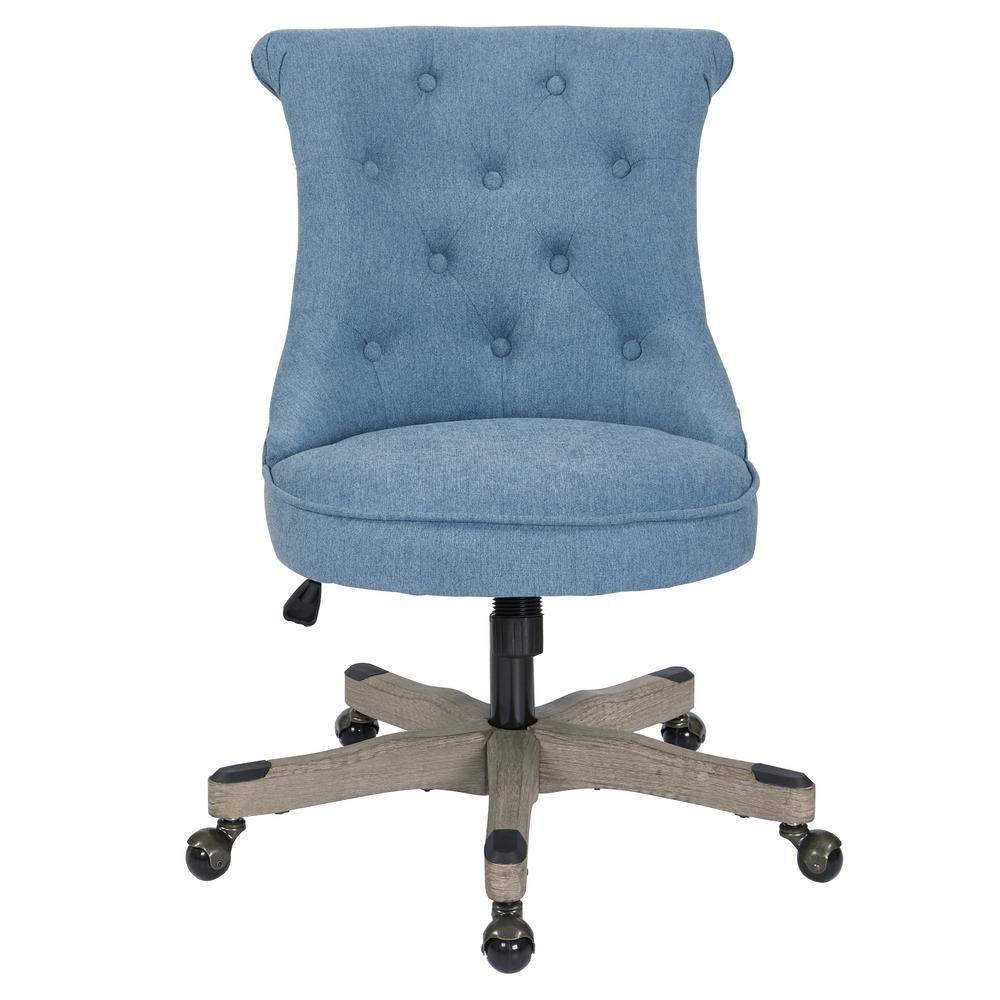 Hannah Sky Fabric Tufted Office Chair with Grey Wood Base