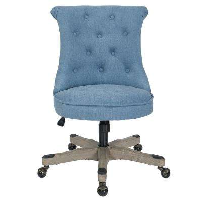 Awesome Hannah Sky Fabric Tufted Office Chair With Grey Wood Base