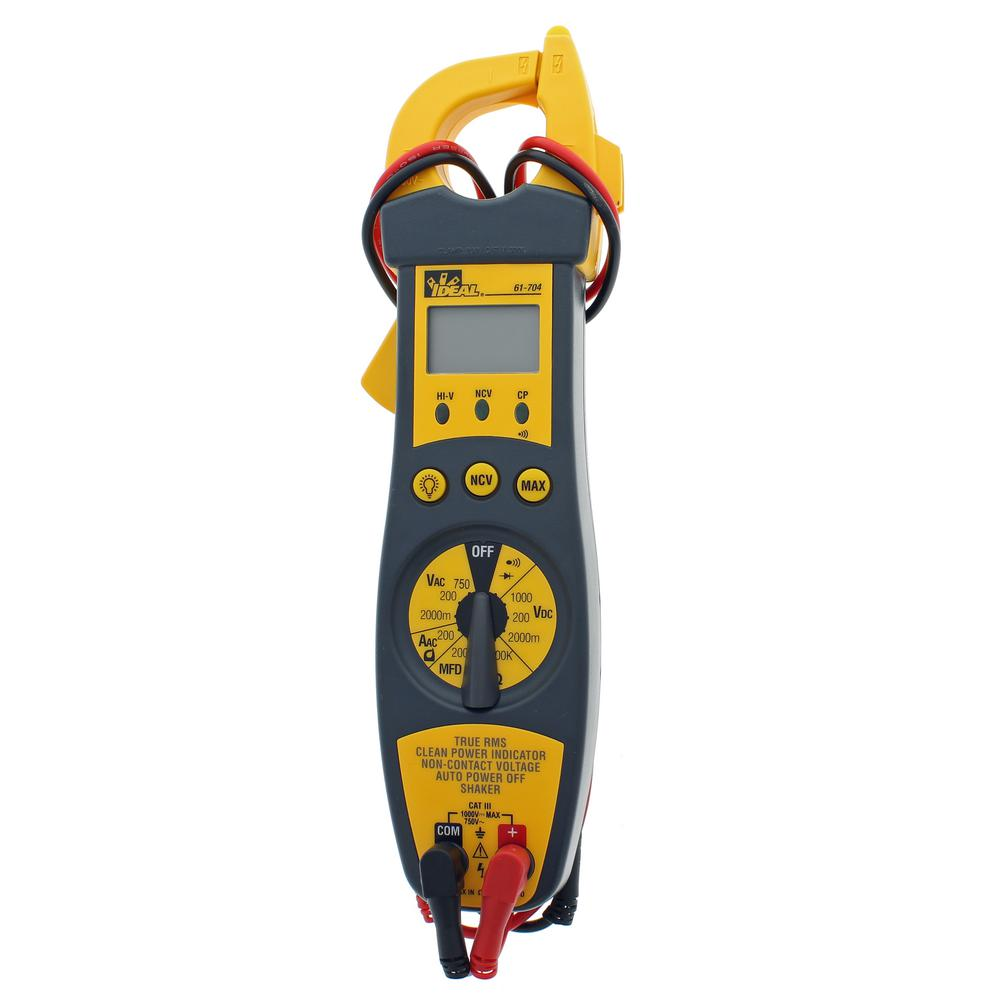Ideal 200 Amp Clamp Meter with TRMS, NCV, Shaker, CP, Backlight