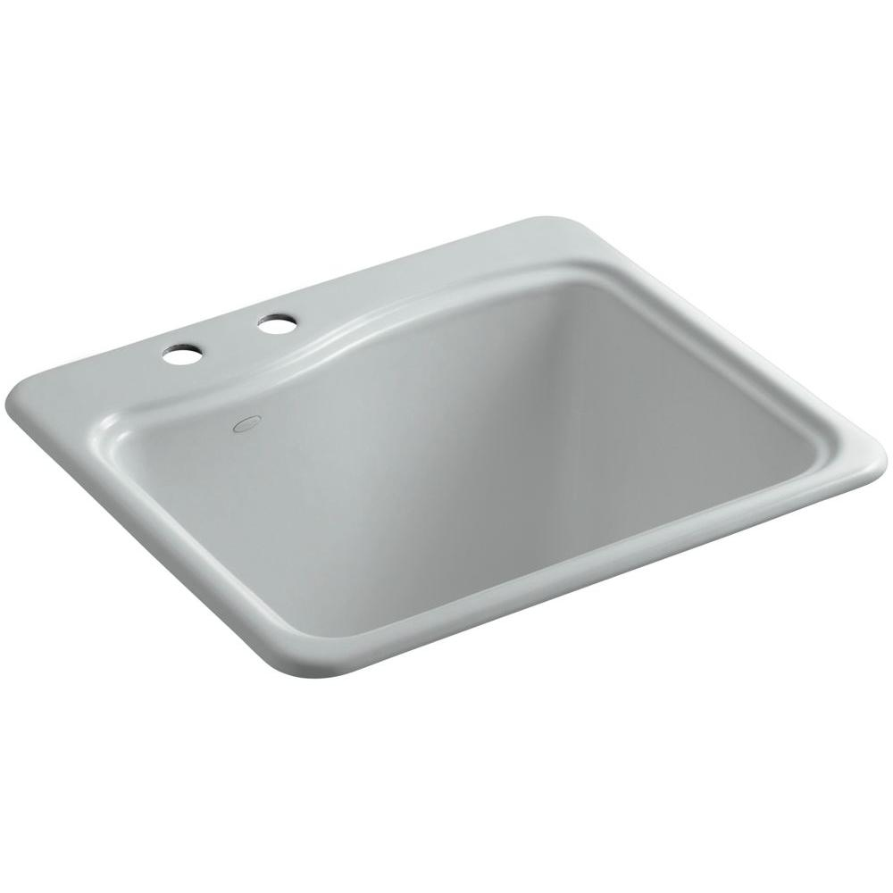 KOHLER River Falls 22 in. x 25 in. Cast Iron Utility Sink in Ice Grey