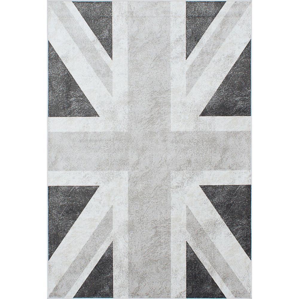 Ecarpet Gallery Union Jack Dark Grey Light 5 Ft X 8
