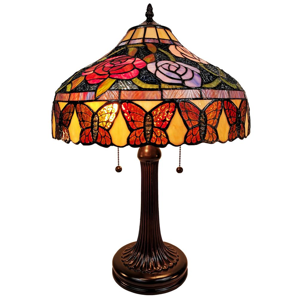 23 in. Tiffany Style Table Lamp with Stained Glass Floral & Butterfly Style Lamp Shade