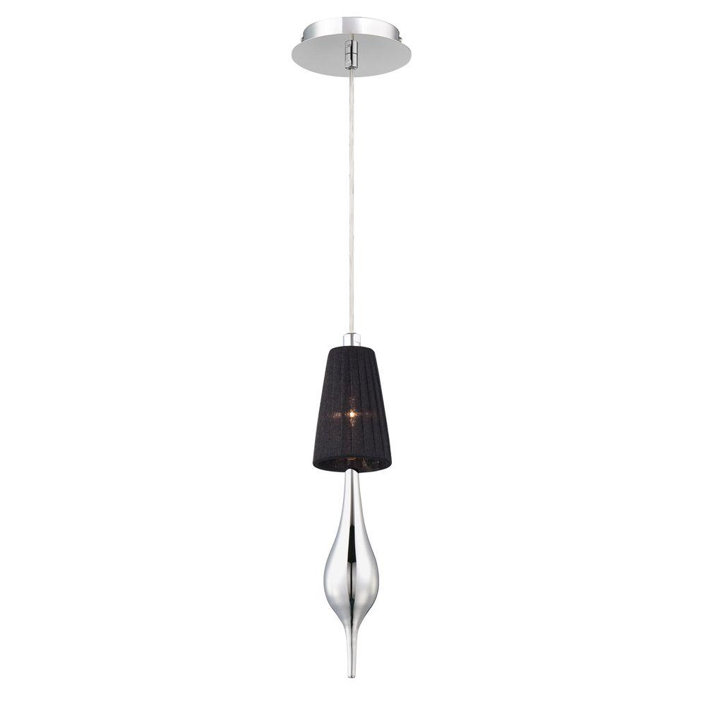 Aqua Collection 1-Light Chrome Pendant with Black Shade and Chrome Glass