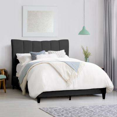 Rosewell Dark Grey Fabric Vertical Channel-Tufted Double Bed Frame