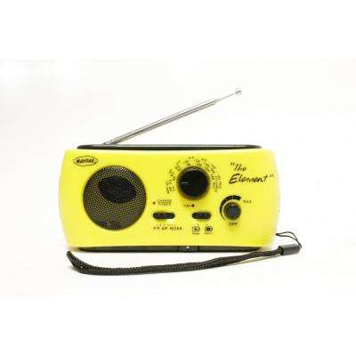 """The Element"" Dynamo Powered Solar Radio and Flashlight with NOAA, Yellow"