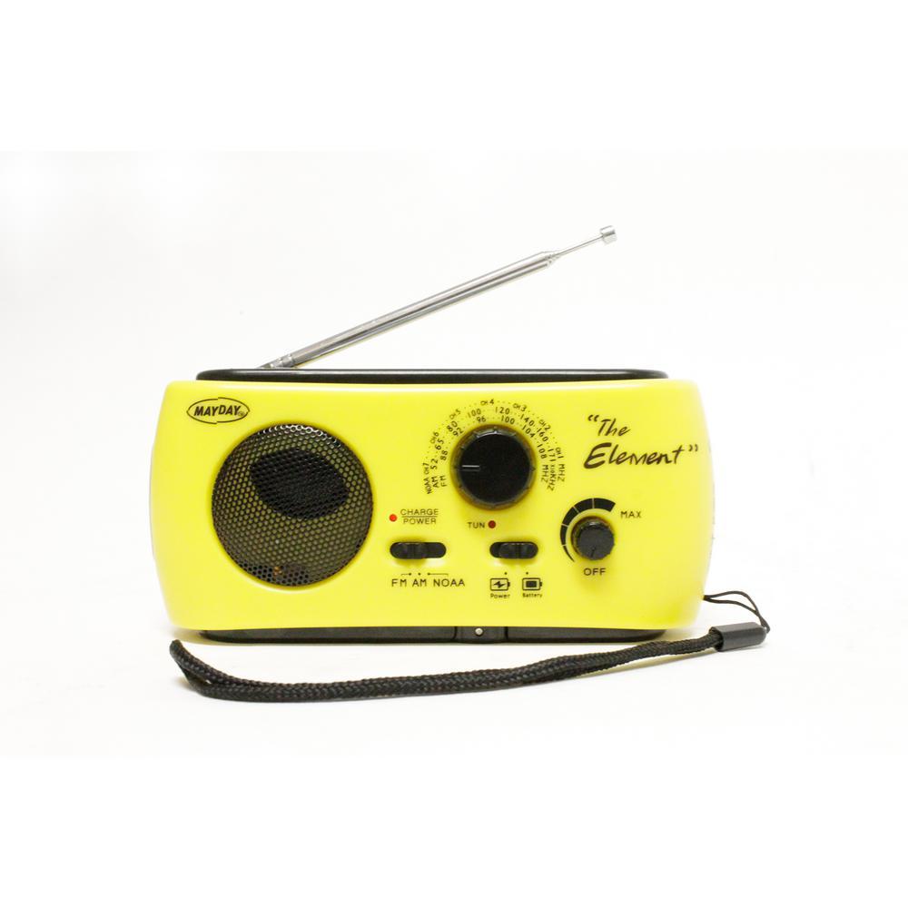 """The Element"" Dynamo Powered Solar Radio and Flashlight with NOAA, Yellow"