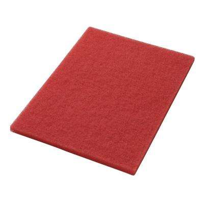 12 in. x 18 in. Red Daily Floor Cleaning and Buffing Pad (5-Pack)