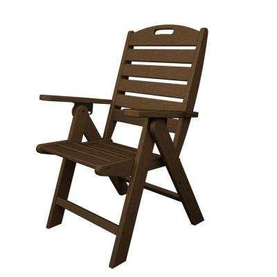 Nautical Highback Teak Plastic Outdoor Patio Dining Chair
