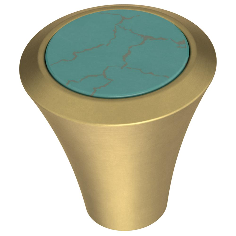 Liberty Agate 1-1/8 in. (29 mm) Brushed Brass with Turquoise Cabinet Knob