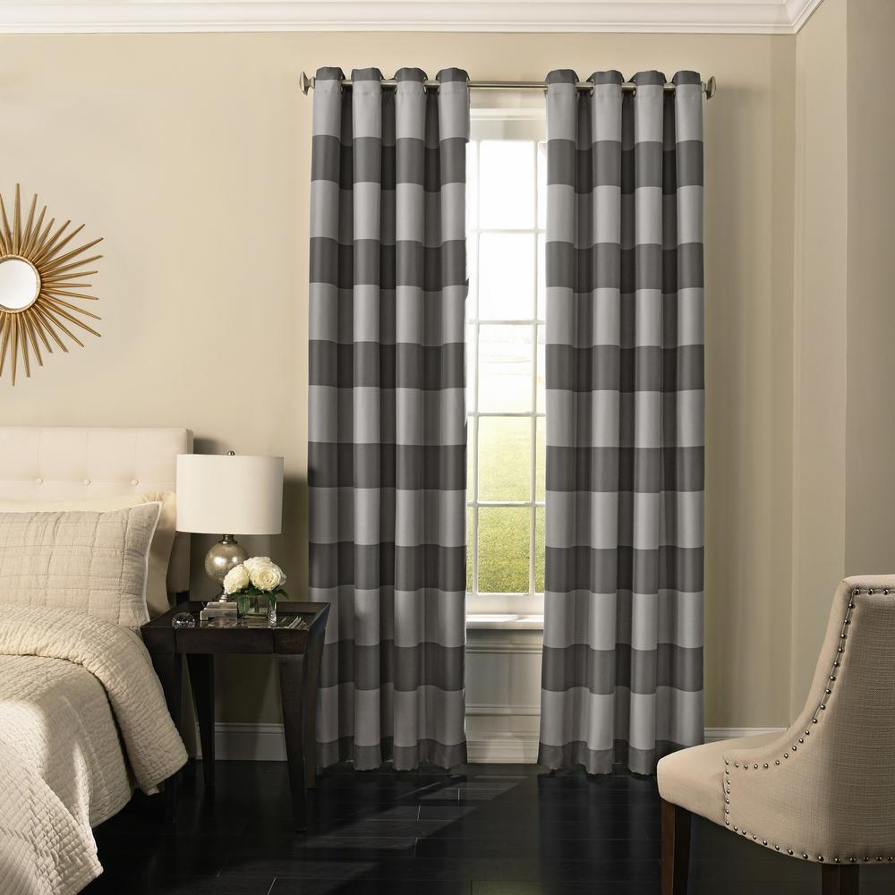 Gaultier 108 in. L Grey Grommet Curtain