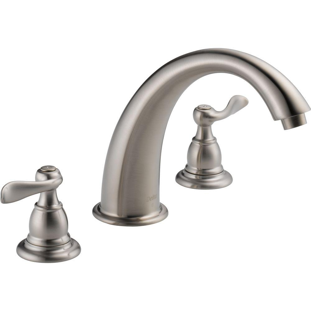 Delta Windemere 2 Handle Deck Mount Roman Tub Faucet Trim Kit Only In  Stainless (Valve Not Included) BT2796 SS   The Home Depot