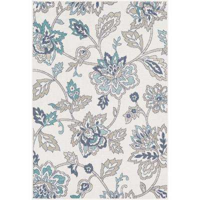 Felix White 2 ft. 3 in. x 4 ft. 6 in. Floral Indoor/Outdoor Area Rug