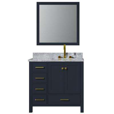 37 in. W x 22 in. D Bath Vanity in Midnight Blue w/ Marble Vanity Top in Carrara White w/ White Basin and Mirror