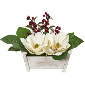 Magnolias and Berries Artificial Arrangement in Chair Planter