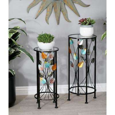 Multi-Colored Iron and Glass Stems and Leaves Round Plant Stands (Set of 2)