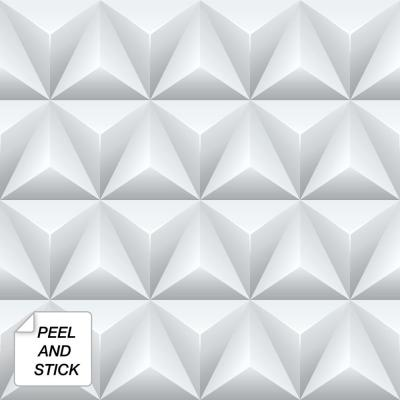30.75 sq. ft. Gray Triangle Origami Peel and Stick Wallpaper