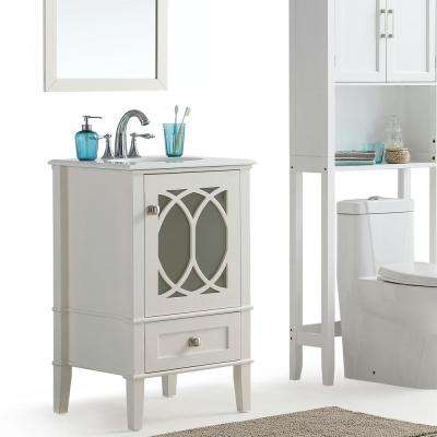 Paige 21 in. W x 19 in. D x 34.5 in. H Vanity in White with Engineered Quartz Marble Vanity Top in White with Basin