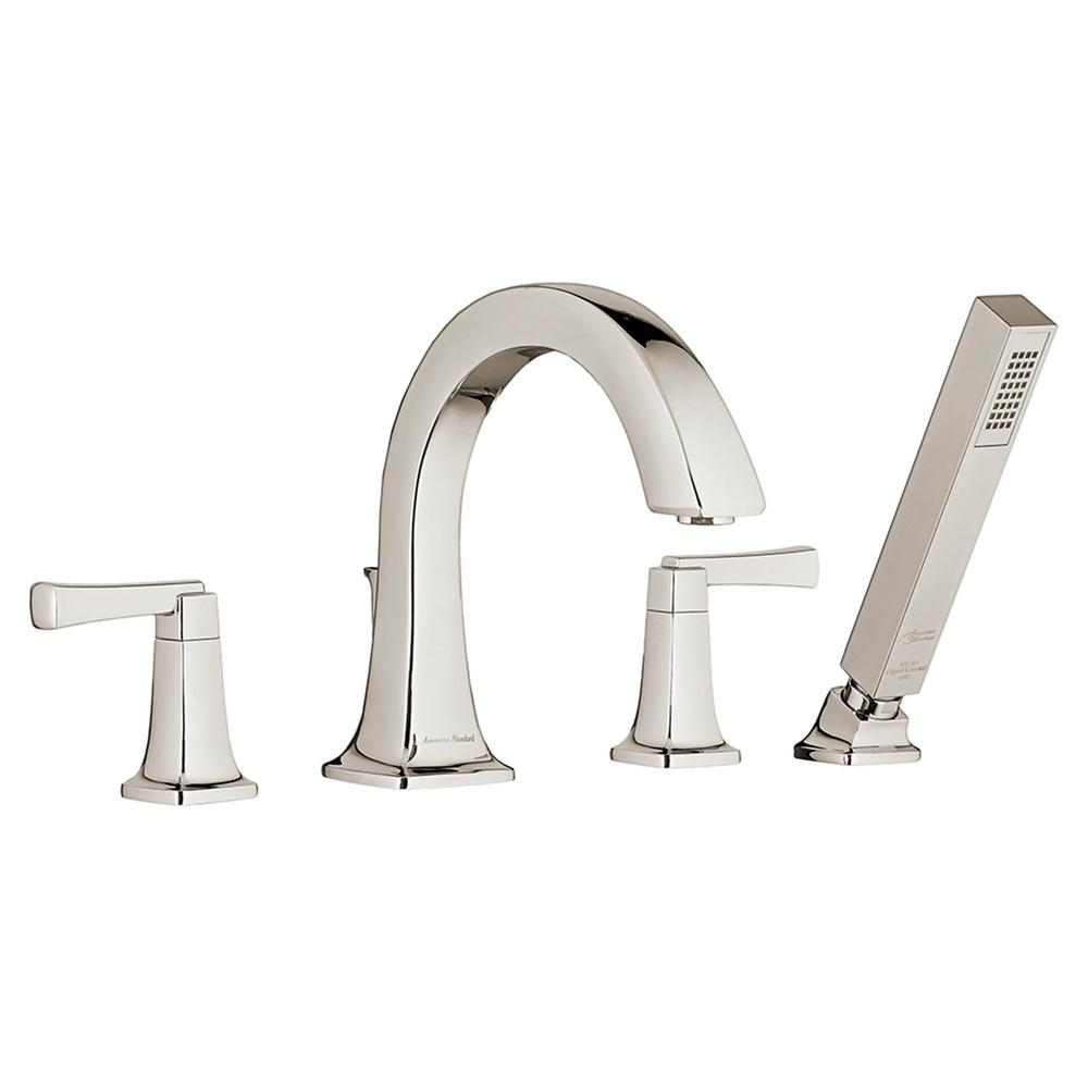 American Standard Townsend 2-Handle Deck-Mount Roman Tub Faucet for Flash Rough-in Valves with Hand Shower in Polished Nickel