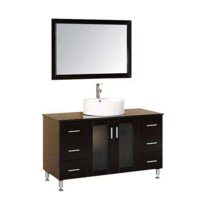 Malibu 48 in. W x 22 in. D Vanity in Espresso with Glass Tempered Vanity Top and Mirror in Black
