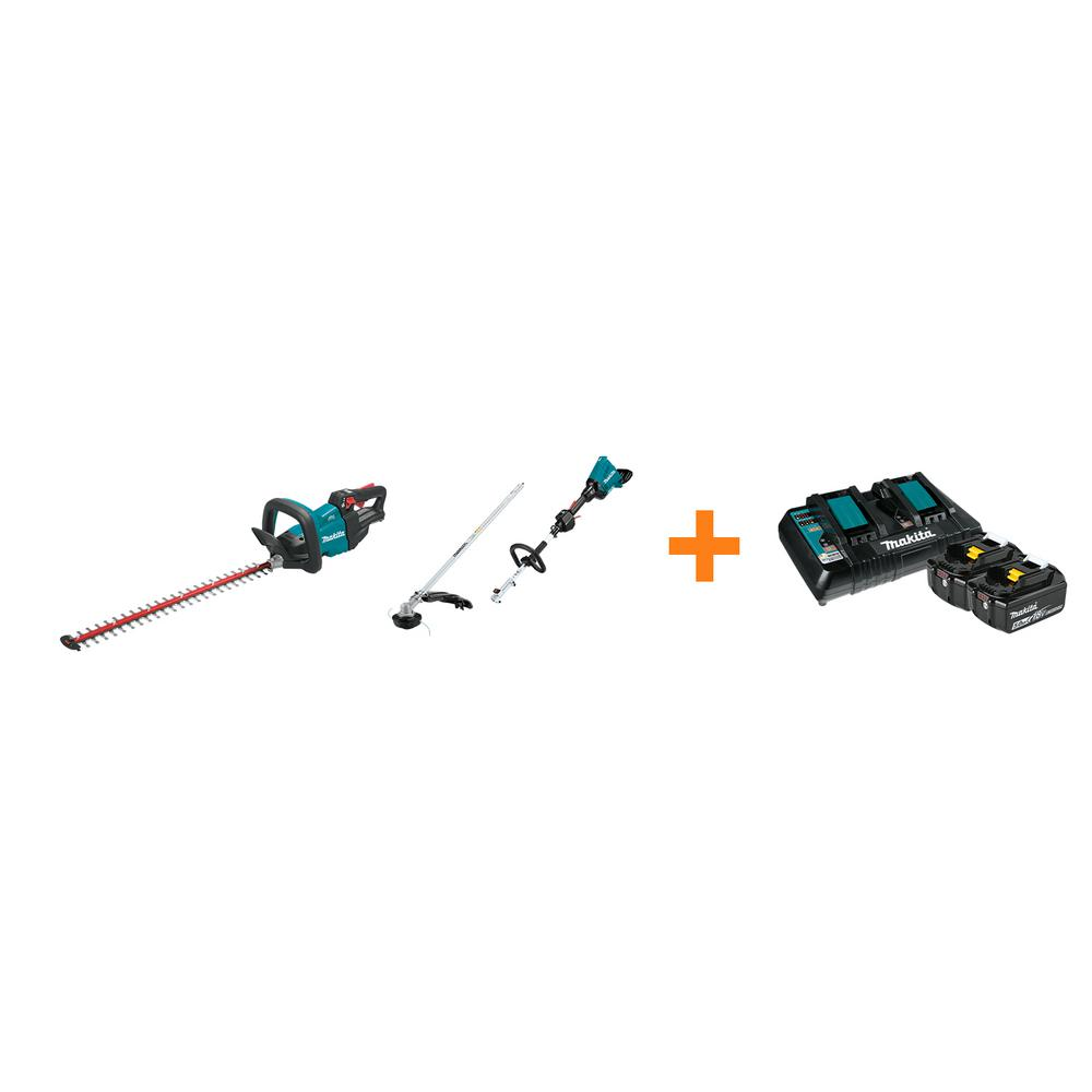 Makita 18V LXT Cordless 24 in. Hedge Trimmer and 18V X2 LXT Couple Shaft Power Head with bonus 18V LXT Starter Pack was $807.0 now $558.0 (31.0% off)