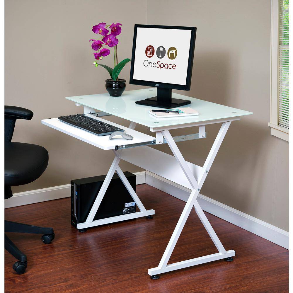 Onespace White Ultramodern Glass Computer Desk With Pull Out Keyboard Tray