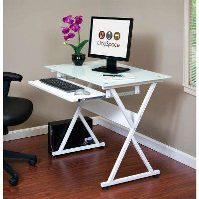 White Ultramodern Glass Computer Desk with Pull-Out Keyboard Tray