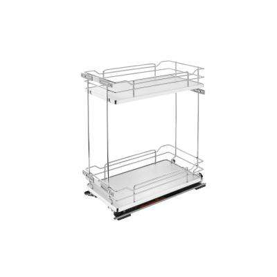 21 in. H x 11.38 in. W x 22.38 in. D Two-Tier Pull-Out Gray Wire Organizer