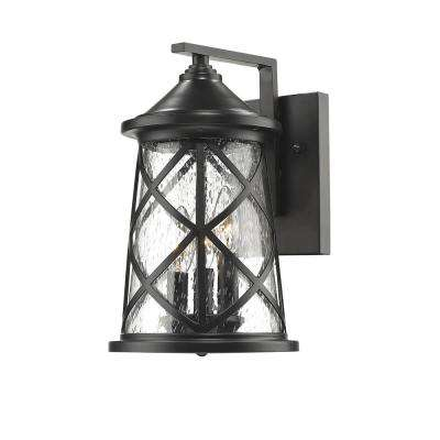 3-Light 13 in. High Powder Coated Black Outdoor Wall Lantern Sconce with Glass Shade
