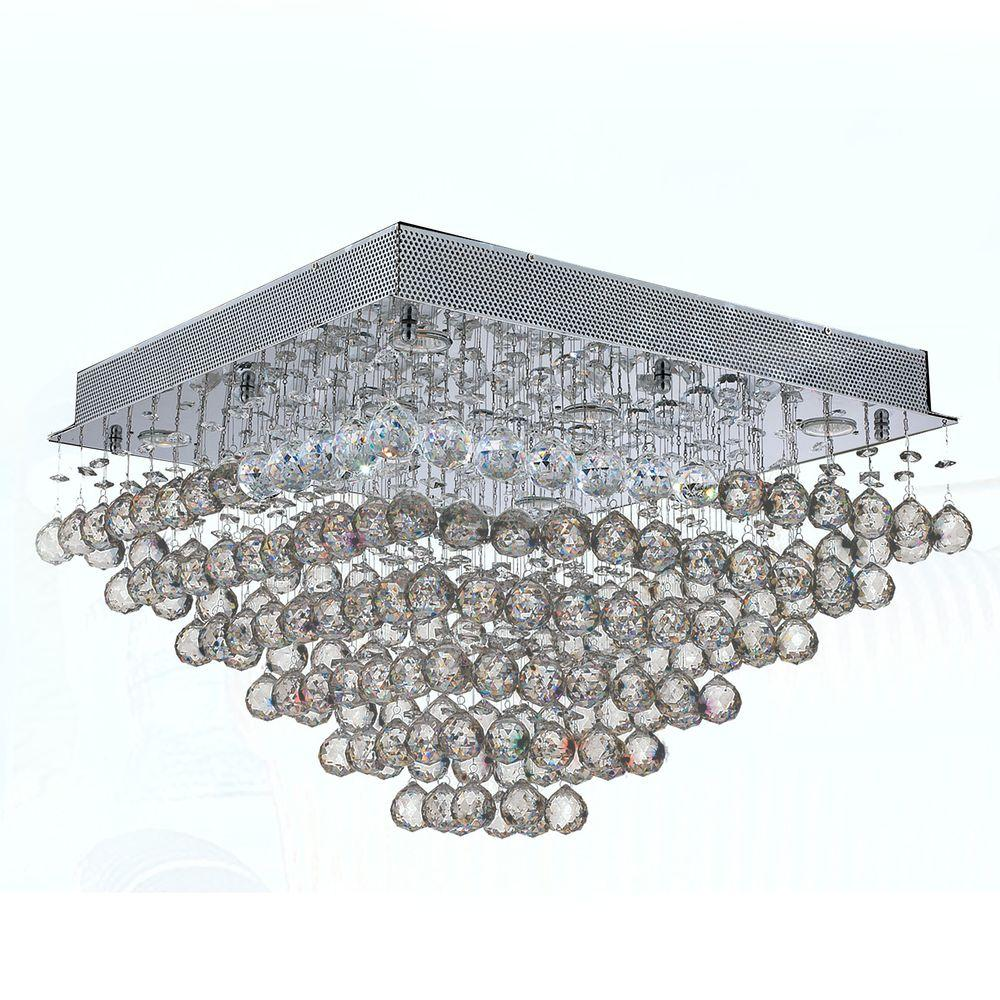 Worldwide Lighting Icicle Collection 8-Light Chrome Crystal Ceiling Light