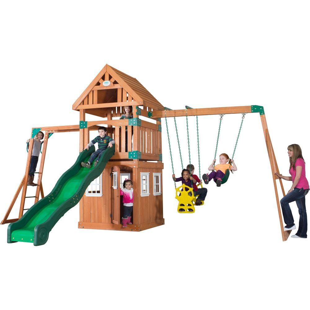 Backyard Discovery Castle Peak All Cedar Playset 54413com   The Home Depot