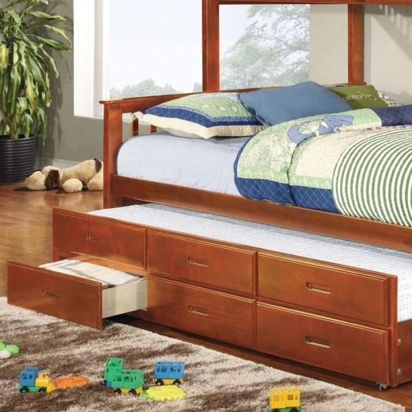 William S Home Furnishing Trundle Oak With 3 Drawers Twin Xl Platform Bed Cm Bk458q Ctr Oak The Home Depot