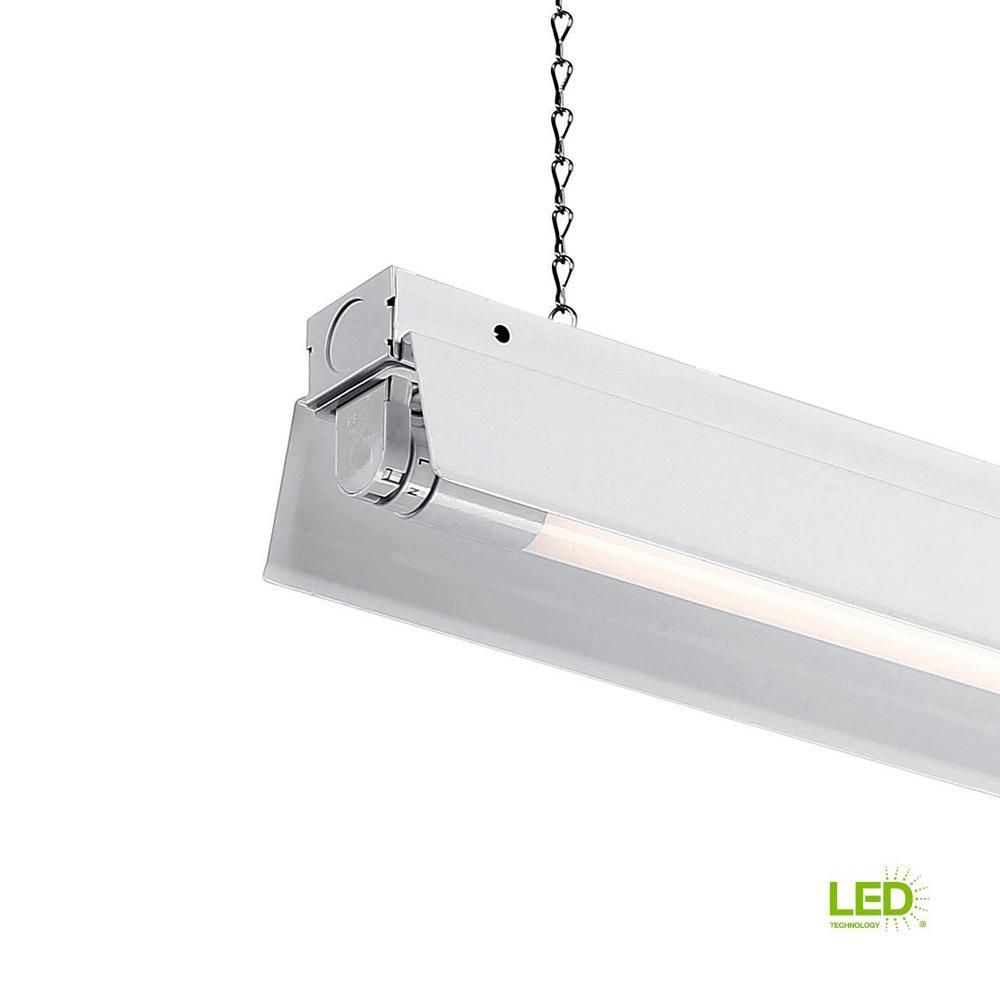 4 ft. 1-Light White LED Shop Light with T8 LED 5000K Tubes