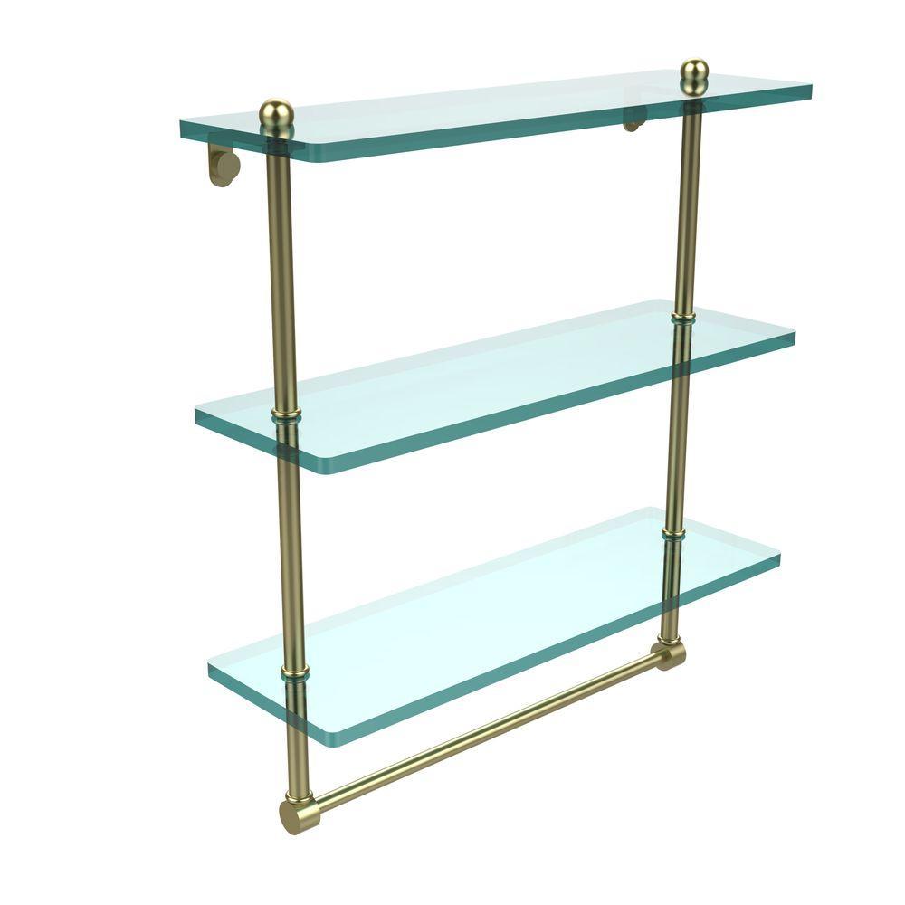 16 in. L  x 18 in. H  x 5 in. W 3-Tier Clear Glass Bathroom Shelf with Towel Bar in Satin Brass