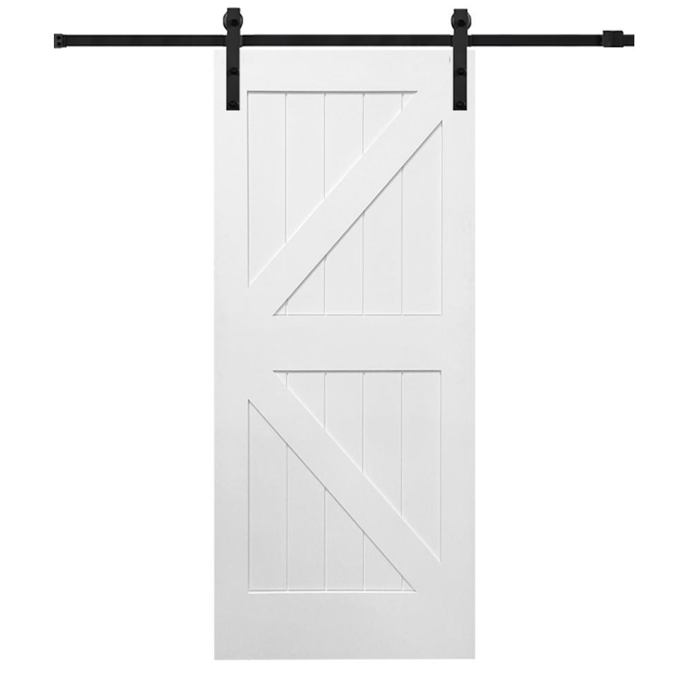 Mmi door 42 in x 84 in primed k plank mdf barn door with for 84 sliding glass door