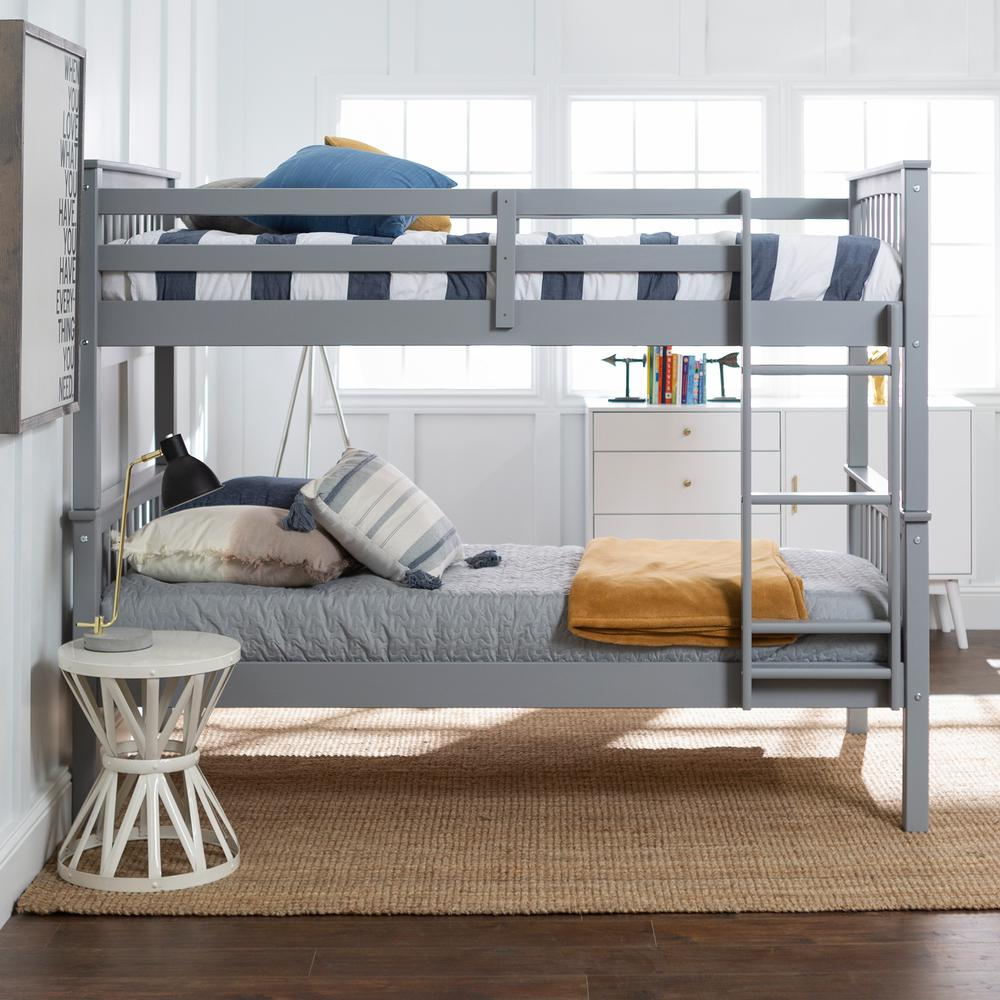 Walker Edison Furniture Company Solid Wood Twin Over Twin Mission Design Bunk Bed Grey Hdwtotmsgy The Home Depot