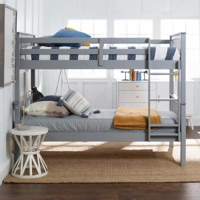 Solid Wood Twin over Twin Mission Design Bunk Bed - Grey