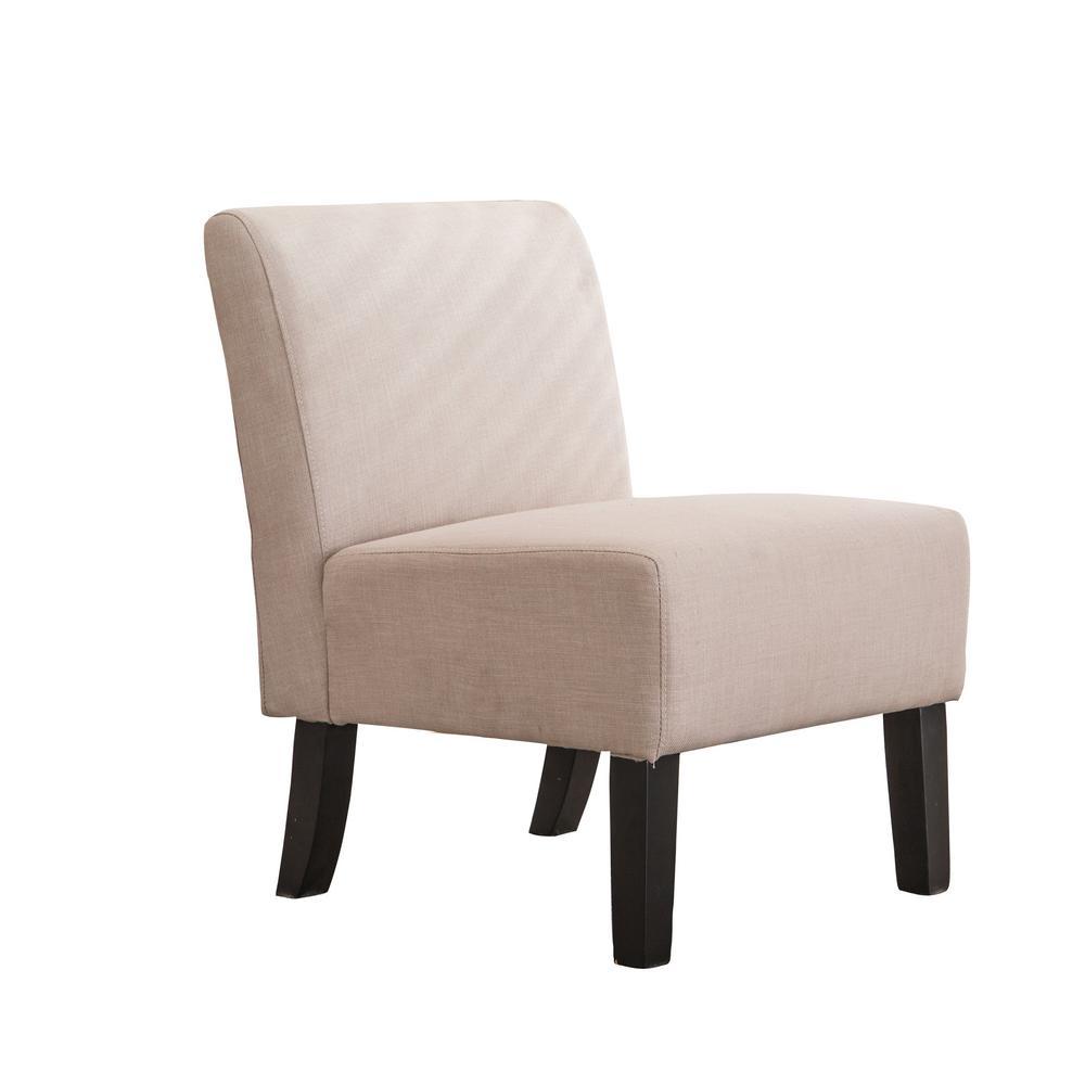 Modern Khaki Upholstered Armless Slipper Chair with Full Back