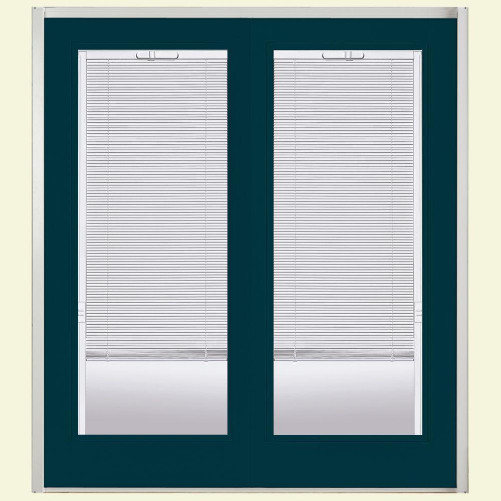 Ultra Prehung Mini Blind Steel Patio Door with No Brickmold in Vinyl Frame