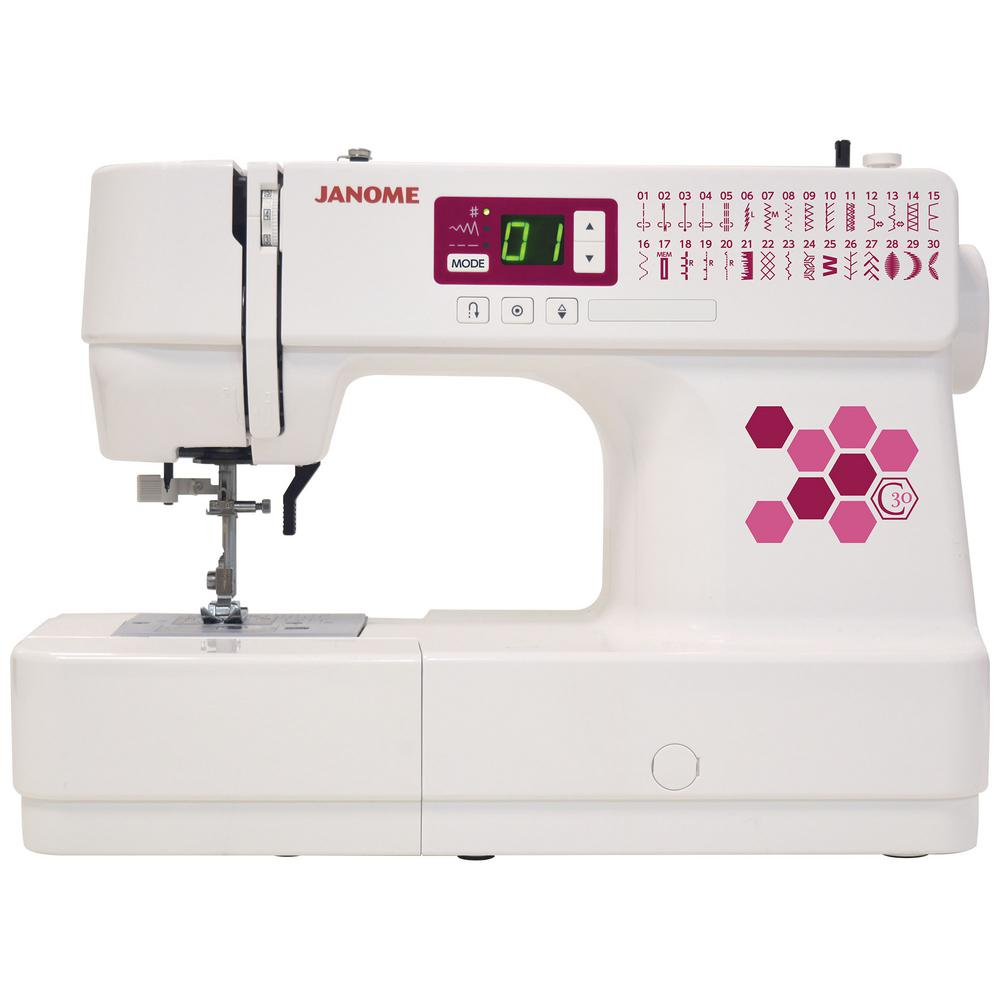 C30 30-Stitch Computerized Sewing Machine, White The C30 sewing machine has 30 built-in stitches, including one-step buttonholes, making it the perfect tool for you to utilize your creative abilities. Get a fresh start on sewing garments, home dcor and quilts. The Janome C30 sewing machine has a jam-proof top drop-in bobbin and easy to read LCD display, you'll be sewing like a professional in no time. By the screen, you'll find great convenience buttons for easy sewing including a locking stitch button, easy reverse button, and needle up/down button. Easily control your sewing speed by using the foot control. The machine weighs just 11 pounds, making it easily portable. This stylish machine is the perfect companion to your projects! Color: White.