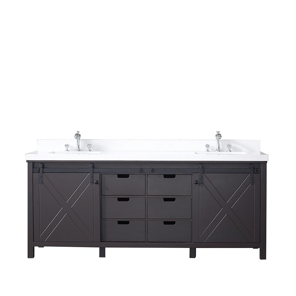 Lexora Marsyas 80 in. Double Vanity Brown, White Quartz Top, White Square Sinks and no Mirror