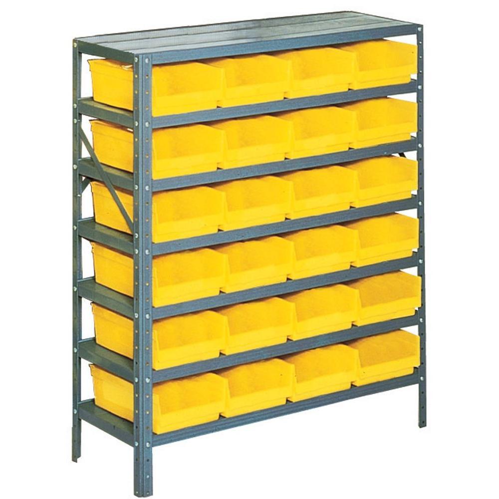Edsal 42 in. H x 36 in. W x 12 in. D Plastic Bin/Small Parts Gray Steel Storage Rack with 24 Yellow Bins