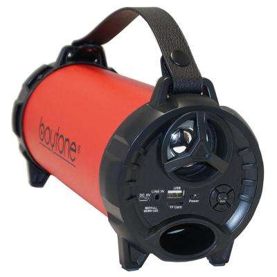Bazooka 15-Watt Portable Bluetooth Indoor/Outdoor Cylinder Speaker, Red