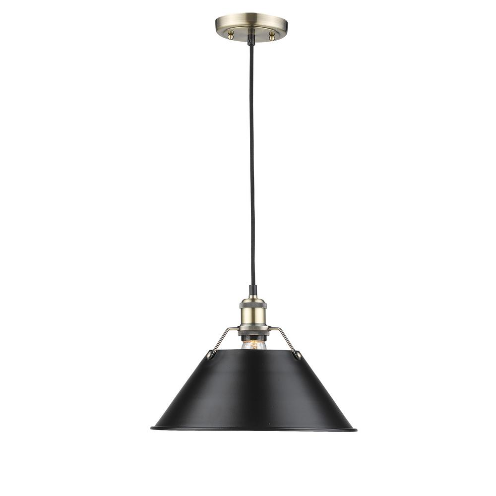 Orwell AB 1-Light Aged Brass Pendant with Black Shade