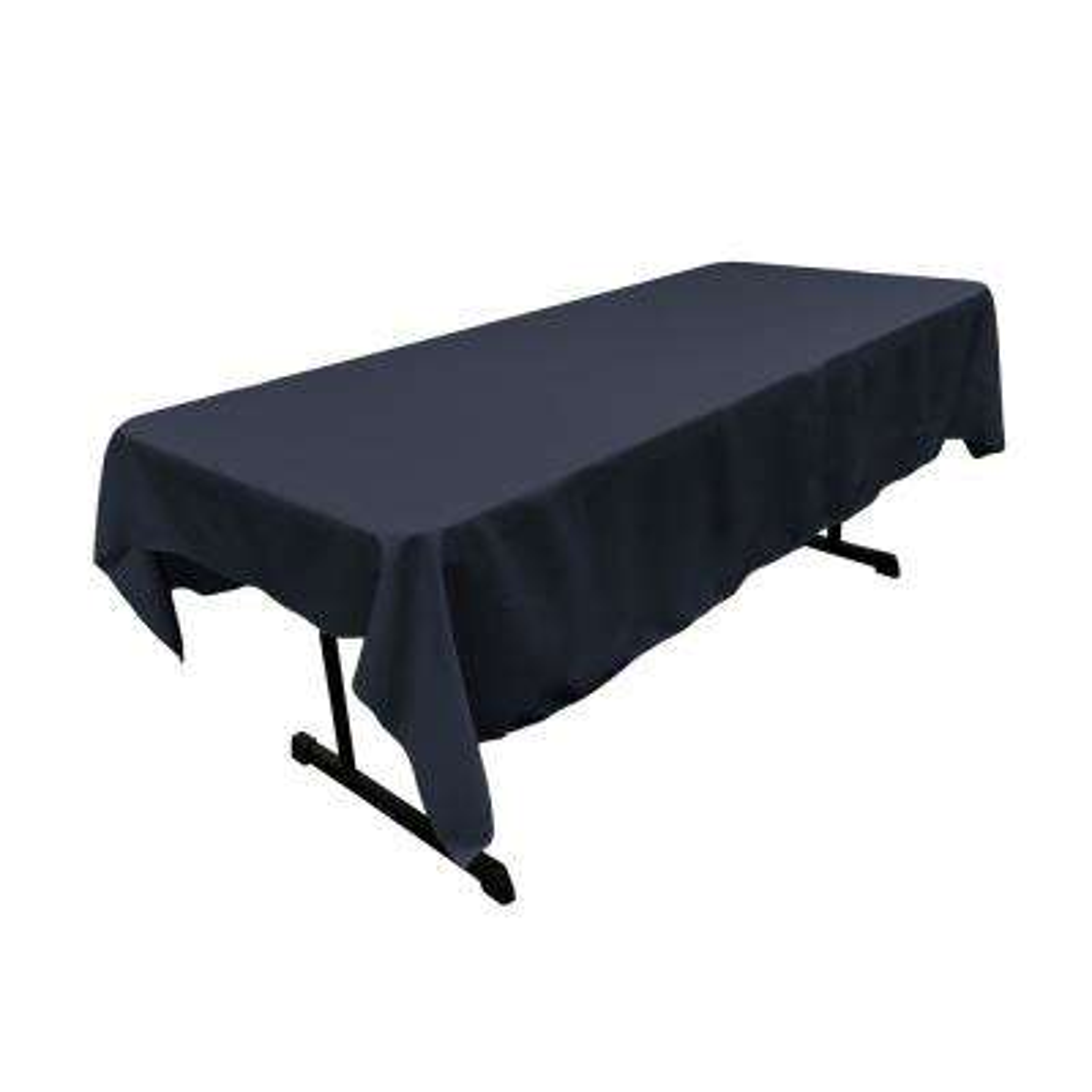 Polyester Poplin 60 in. x 90 in. Navy Blue Rectangular Tablecloth
