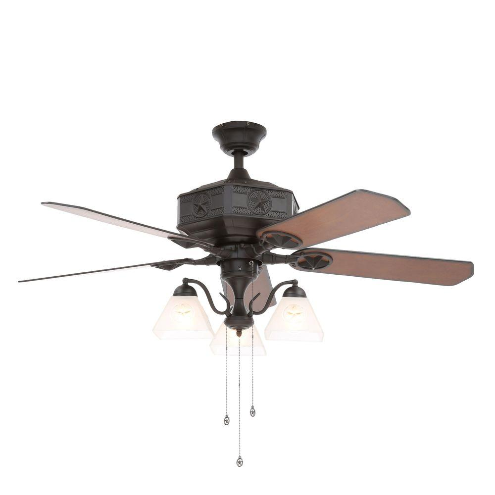Hampton bay lonestar ii 52 in indoor natural iron ceiling fan indoor natural iron ceiling fan with light kit al875 bk the home depot aloadofball Image collections