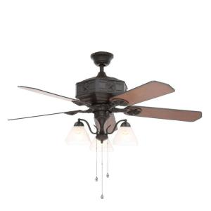 Indoor Natural Iron Ceiling Fan With Light Kit AL875 BK